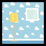 空と雲の模様の部屋の壁紙のイラスト
