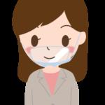 透明マスク/口元シールドをしている女性会社員のイラスト
