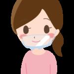 透明マスク/口元シールドをしている女性のイラスト