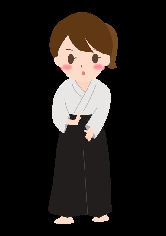 合気道(女性)のイラスト