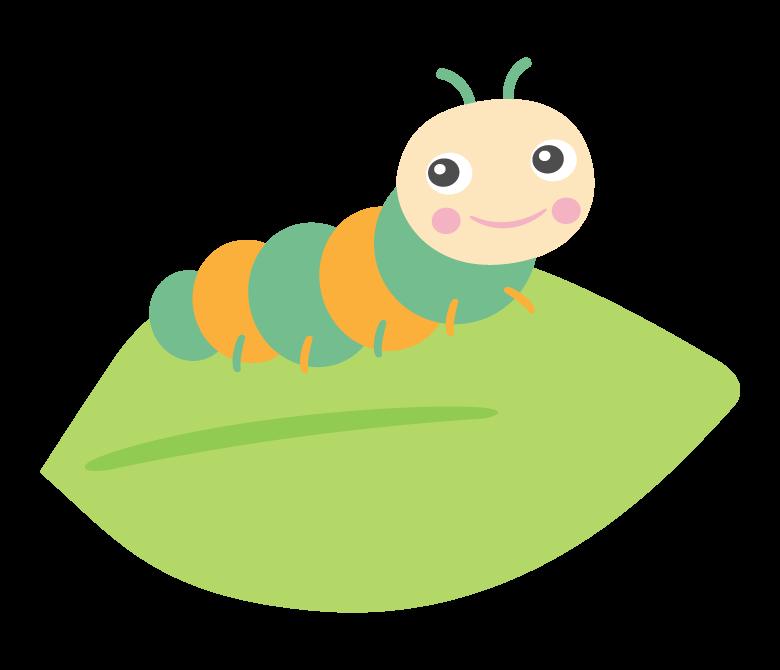 かわいい青虫と葉っぱのイラスト