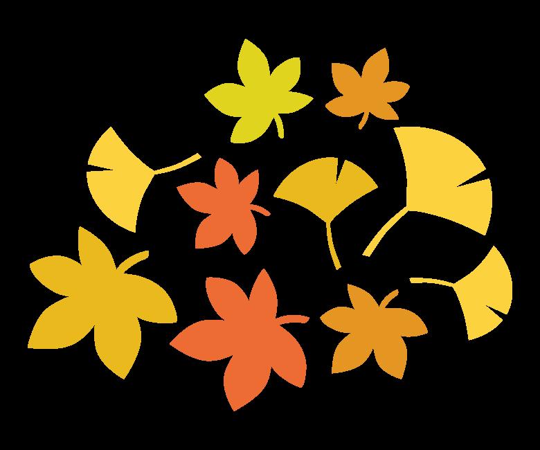 たくさんの紅葉/イチョウのイラスト
