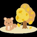 かわいいリスとイチョウの木のイラスト
