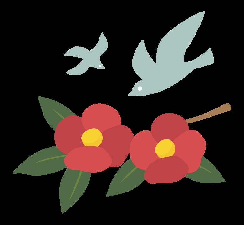 鳥とツバキのイラスト