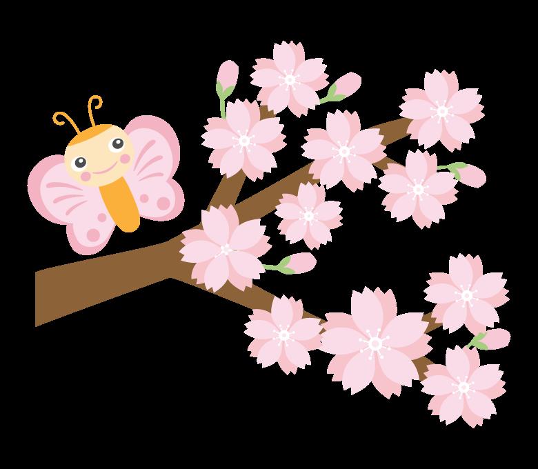 かわいい蝶々と桜のイラスト