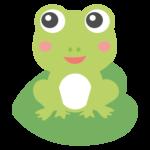 葉っぱの上のかわいいカエルのイラスト