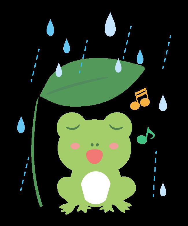 雨の中歌っているかわいいカエルのイラスト