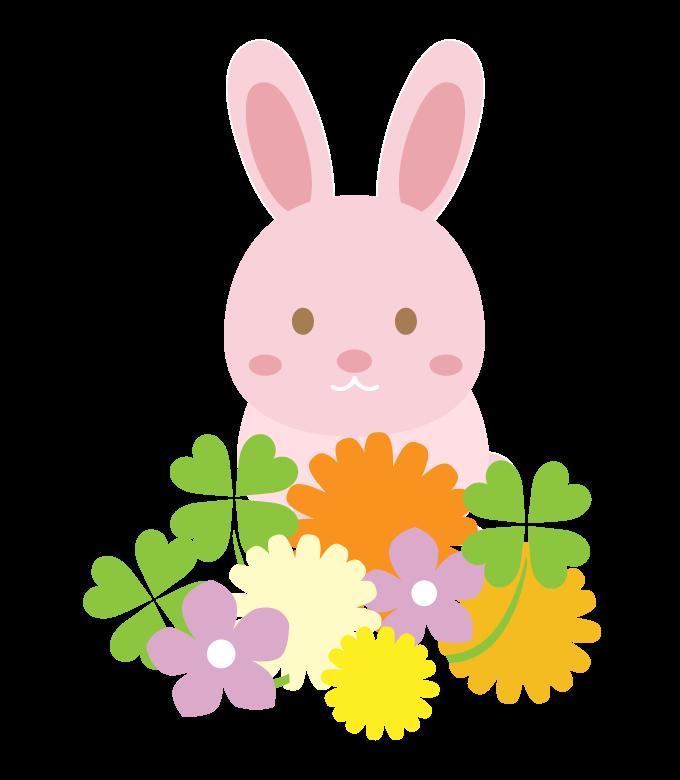 かわいいウサギと花のイラスト