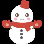 かわいい笑顔の雪だるまのイラスト