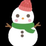 毛糸の帽子をかぶったかわいい雪だるまのイラスト