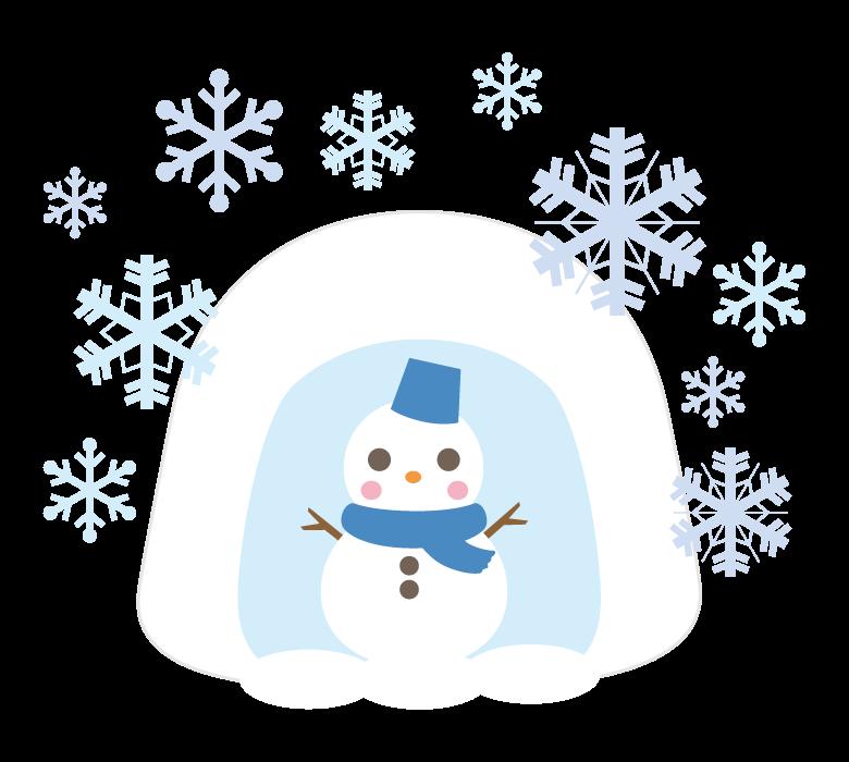 かまくらとかわいい雪だるまのイラスト