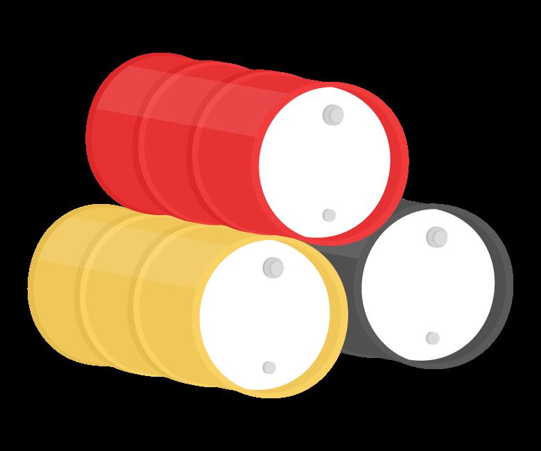 ドラム缶(3つ)のイラスト