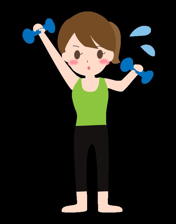 ダンベルでトレーニング/ダイエットをする女性のイラスト