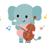 かわいい象さんがバイオリンを弾いているイラスト