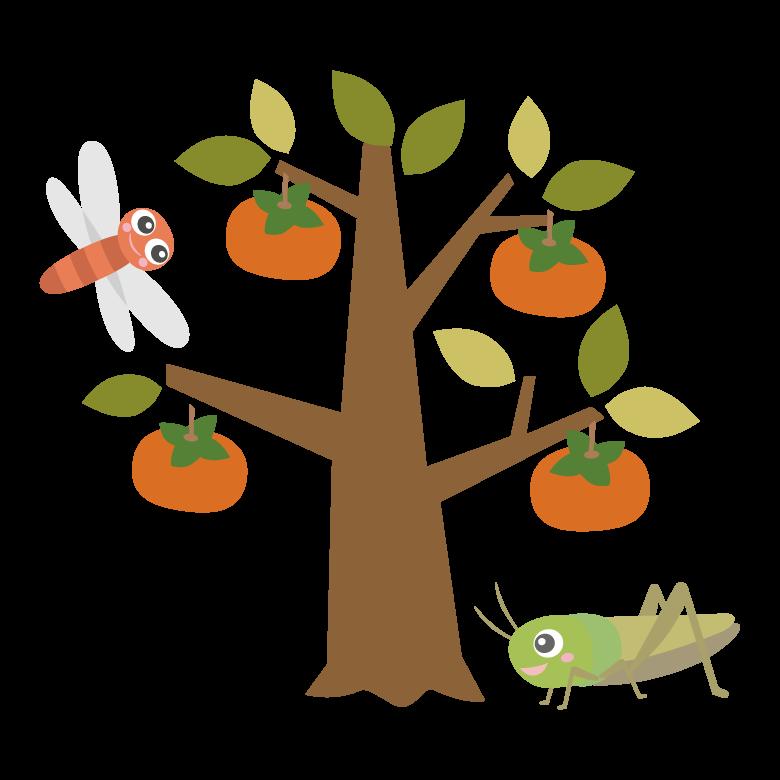柿の木とキリギリスとトンボのイラスト