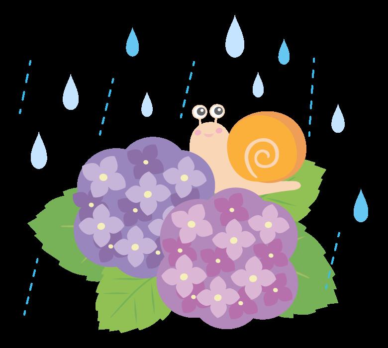 雨の中のカタツムリと紫陽花のイラスト