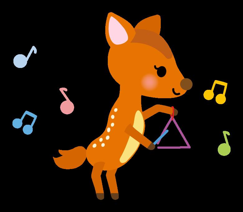 トライアングルで演奏するかわいい小鹿さんのイラスト