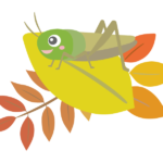紅葉とキリギリスのイラスト