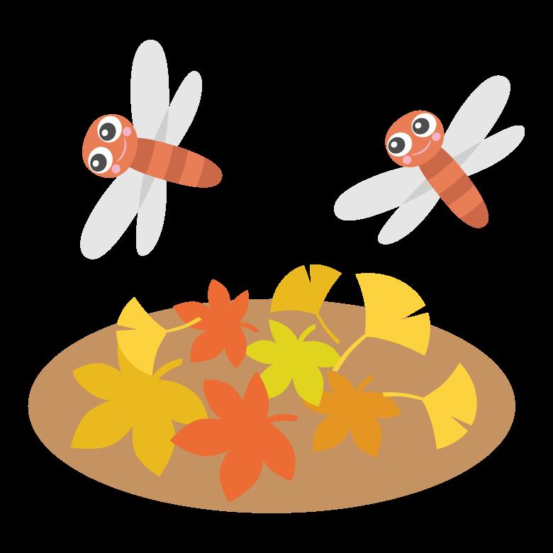 紅葉と赤とんぼのイラスト
