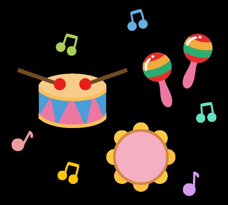 いろいろな楽器で演奏のイラスト