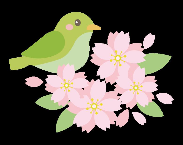 桃の花とかわいい鶯(うぐいす)のイラスト
