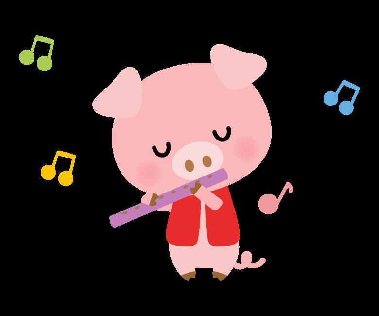 笛の楽器を吹くかわいいブタさんのイラスト