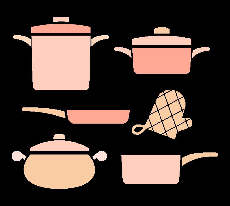 いろいろな鍋や調理道具のイラスト