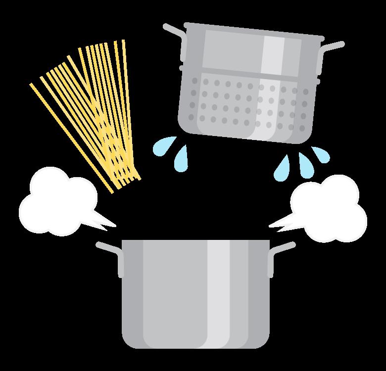 パスタ調理のイラスト
