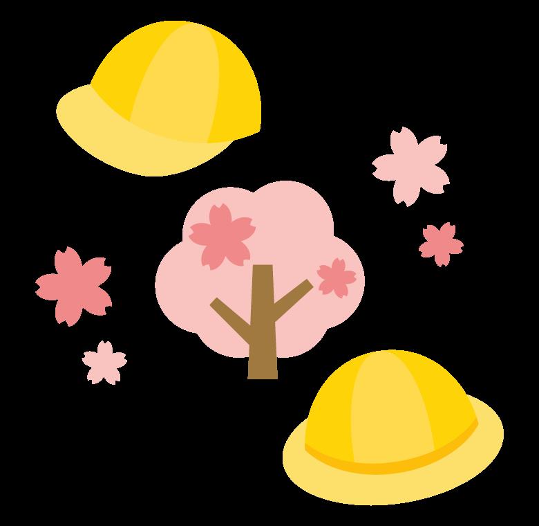 園児の帽子と桜のイラスト