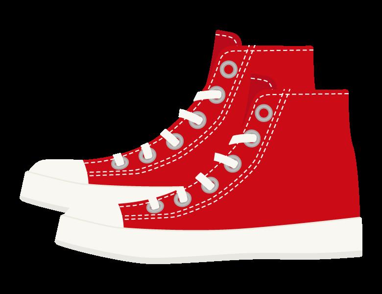 赤いスニーカーブーツのイラスト