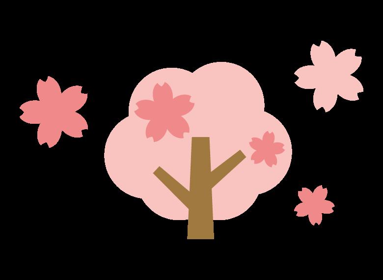 かわいい桜の木と花びらのイラスト