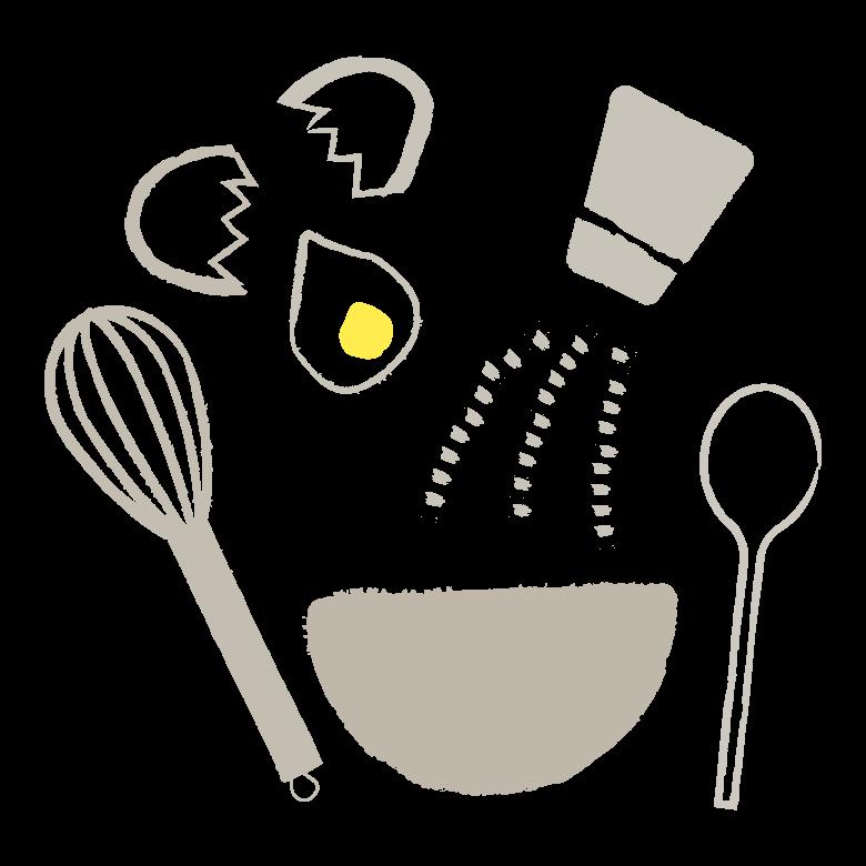 手書き風の調理道具やクッキングのイラスト02