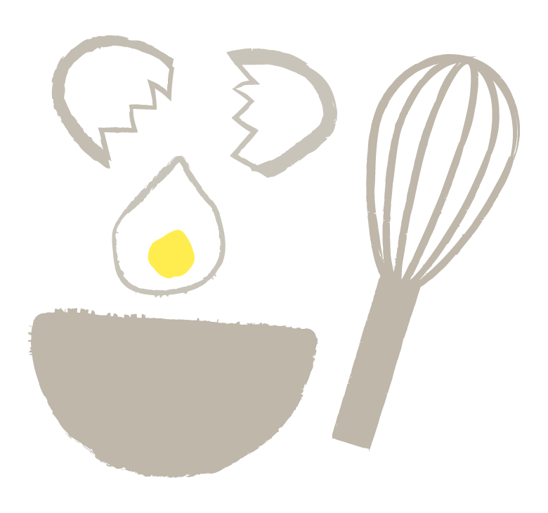 手書き風の卵調理やクッキングのイラスト