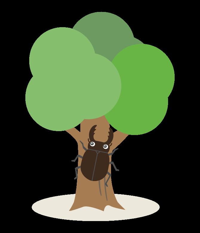 クワガタと木のイラスト