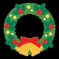 ベルとリボン付きのクリスマスリースのイラスト