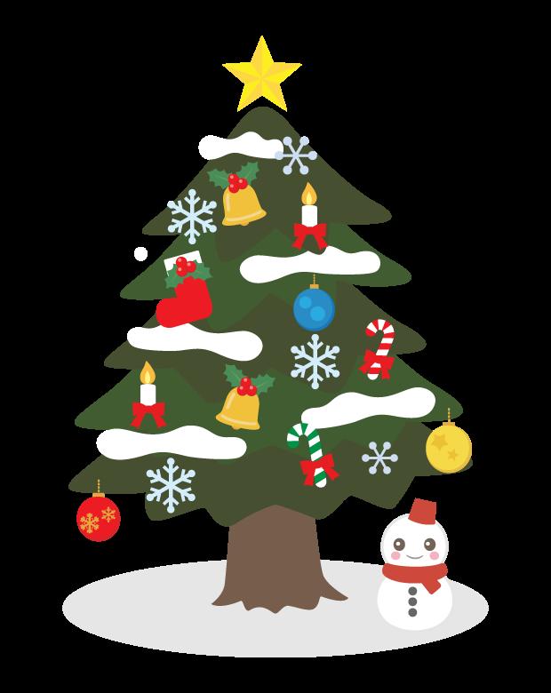 クリスマスツリーと雪だるまのイラスト