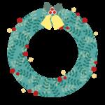 ベル付きのクリスマスリース風のフレーム・飾り枠イラスト