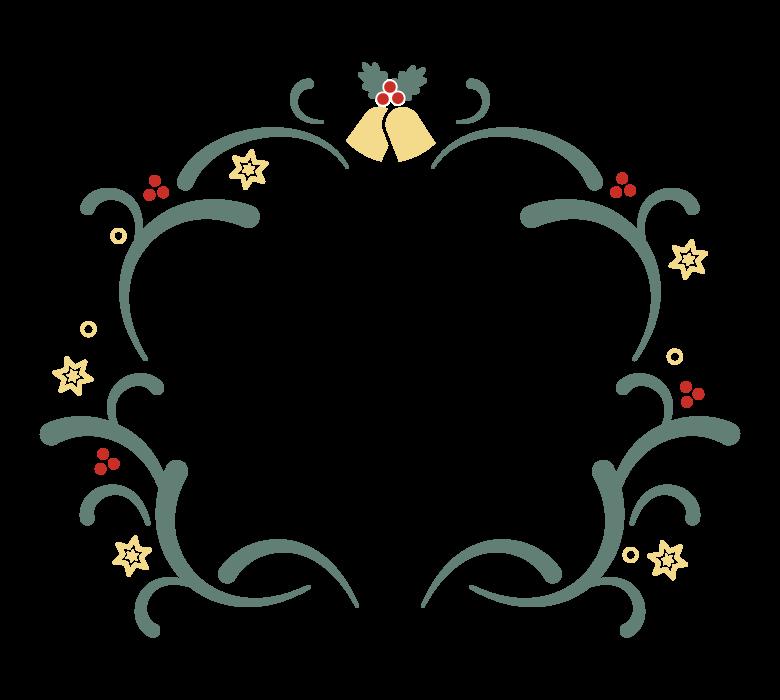 クリスマスリース風のシンプルなフレーム・飾り枠イラスト