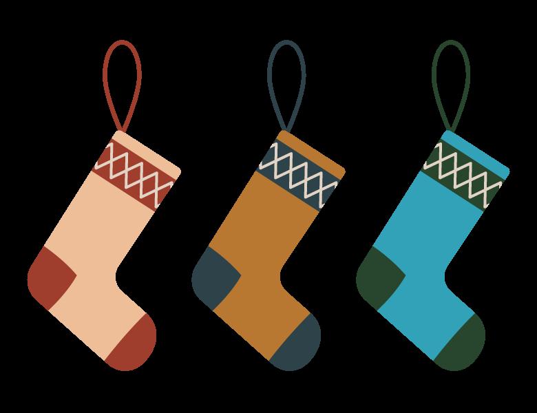 いろいろな色のクリスマスの靴下のイラスト