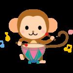 ティンパニーを弾くかわいいお猿さんのイラスト