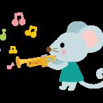 トランペットを弾くかわいいねずみのイラスト