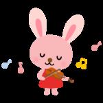 ヴァイオリンを弾くかわいいうさぎさんのイラスト
