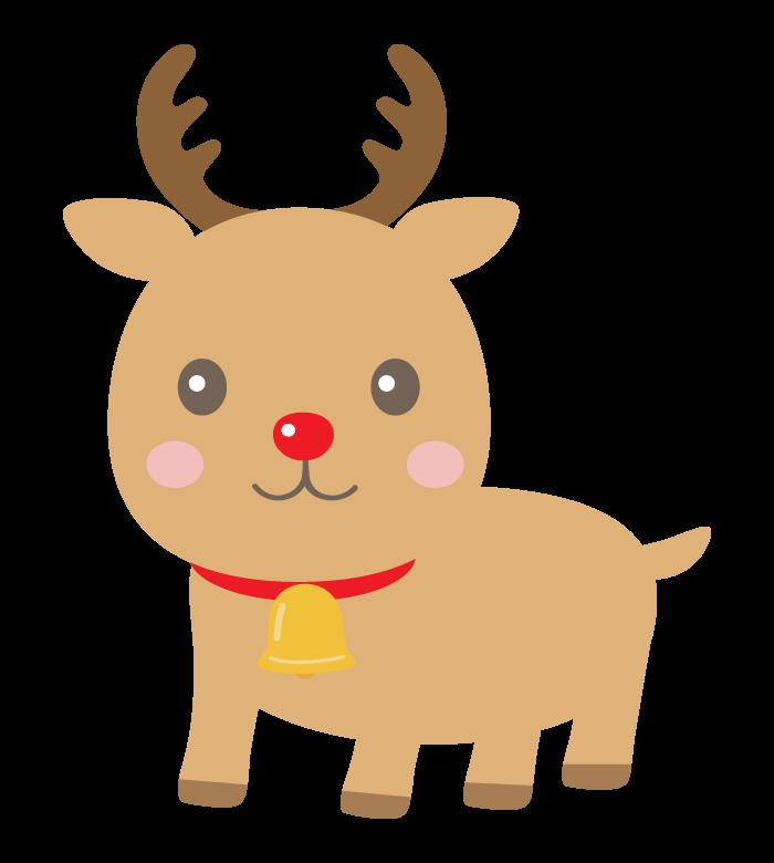 かわいい赤い鼻のトナカイのイラスト