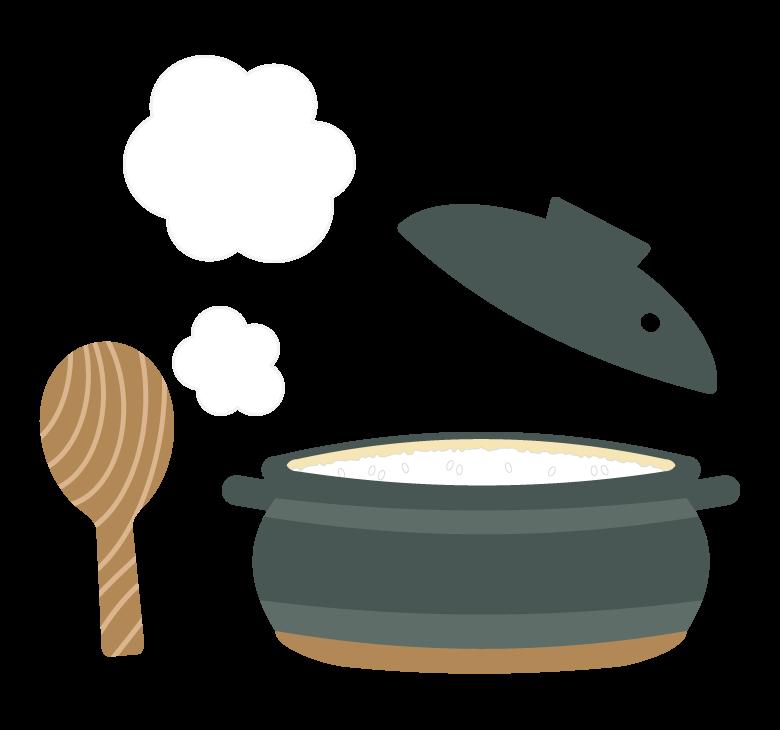 土鍋で炊いたご飯のイラスト
