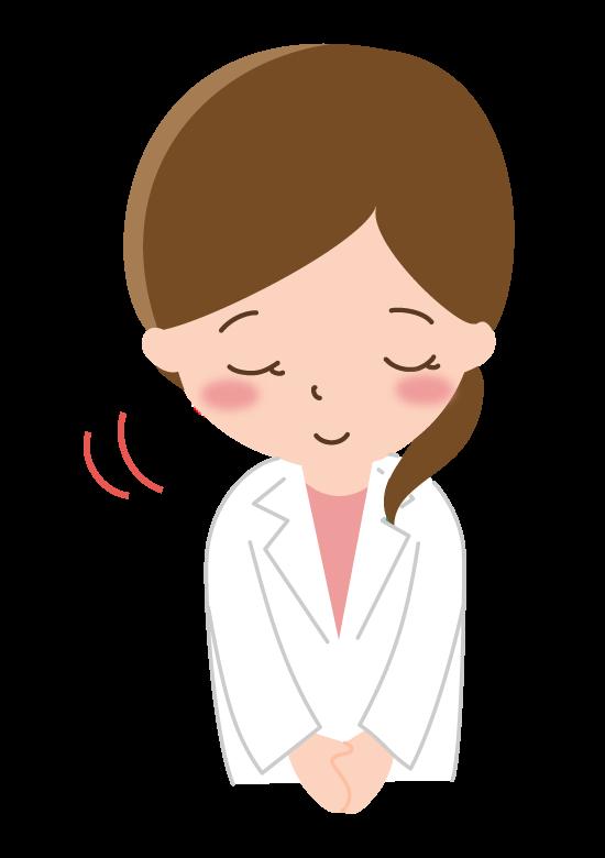 お辞儀をするお医者さん/白衣の女性のイラスト