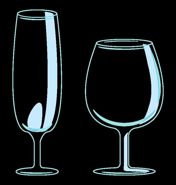 透明なグラス(2個)のイラスト