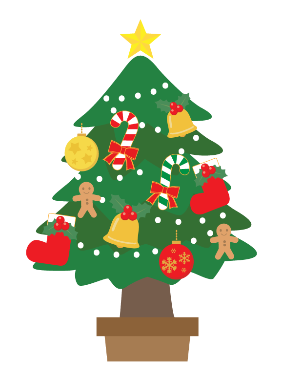 豪華なクリスマスツリーのイラスト