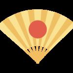 日の丸の金の扇子のイラスト