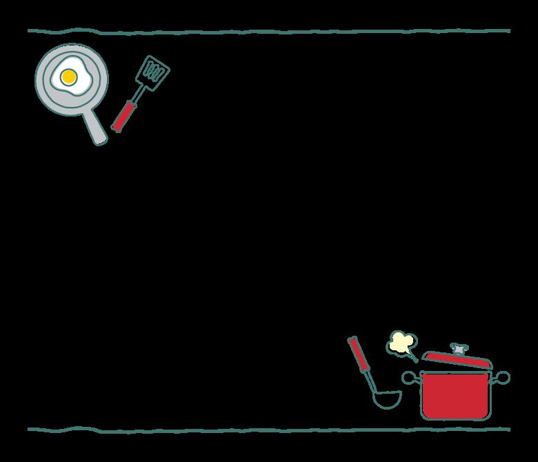 フライパンとお鍋のキッチンフレーム・飾り枠イラスト