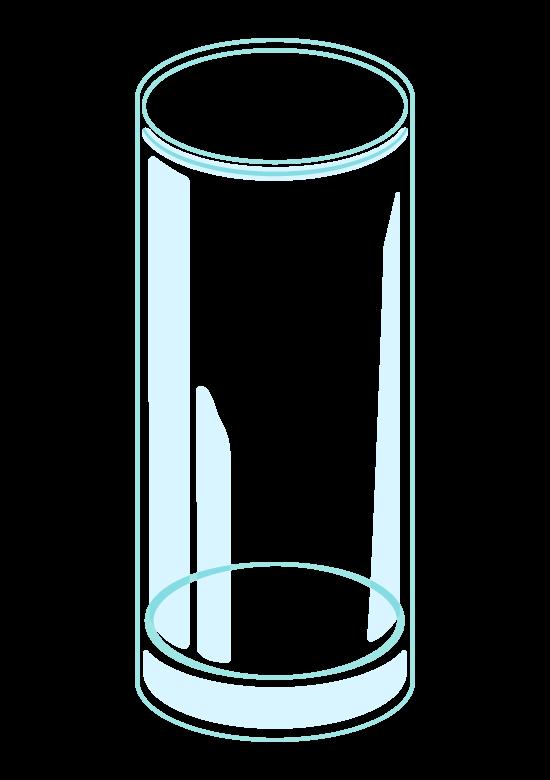 縦長の透明なグラスのイラスト